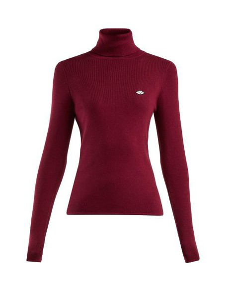 See By Chloé See By Chloé - Roll Neck Cotton Blend Sweater - Womens - Burgundy