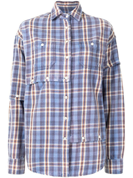 R13 check print shirt in purple