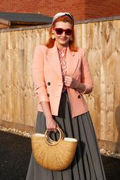 not dressed as lamb - over 40 fashion blog,blogger,sweater,jacket,skirt,shoes,sunglasses,bag,jewels,pleated skirt,blazer