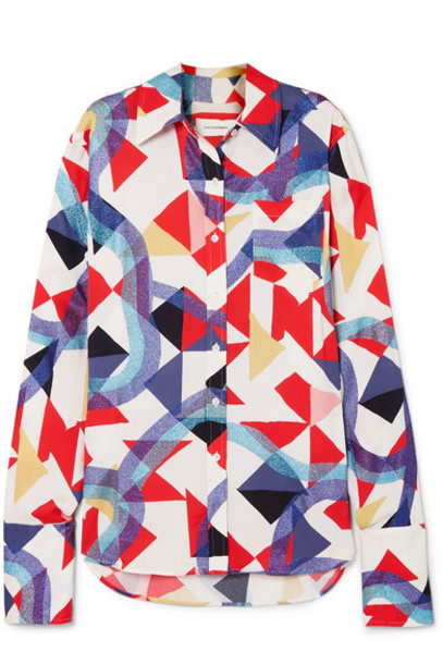 Wales Bonner - Glittered Printed Crepe Shirt in red
