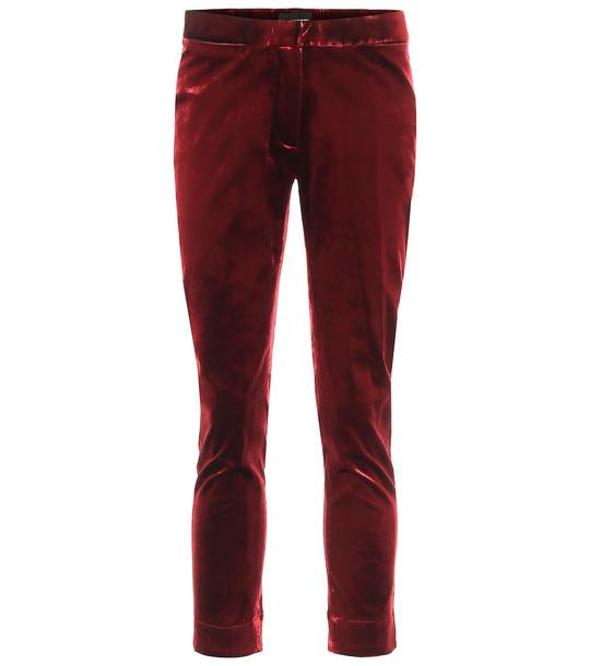 Ann Demeulemeester High-rise skinny cropped velvet pants in red