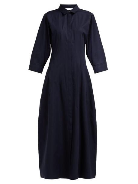 Jil Sander - Garden Cotton Poplin Shirtdress - Womens - Navy