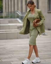dress,midi dress,green dress,blazer,sneakers,bag