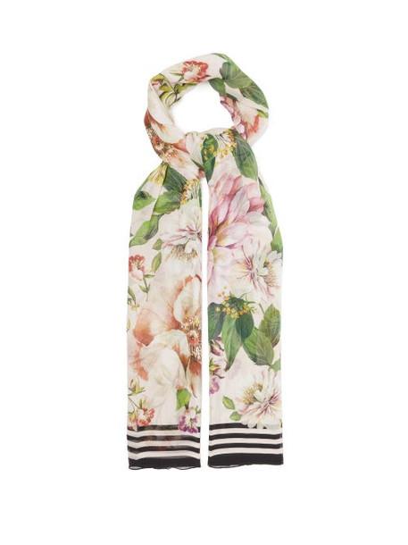Dolce & Gabbana - Floral-print Silk-crépon Scarf - Womens - Pink Multi