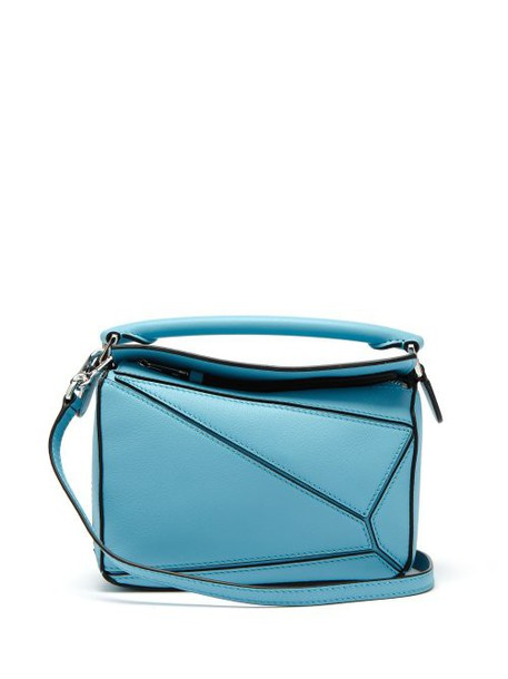 Loewe - Puzzle Mini Grained Leather Cross Body Bag - Womens - Light Blue