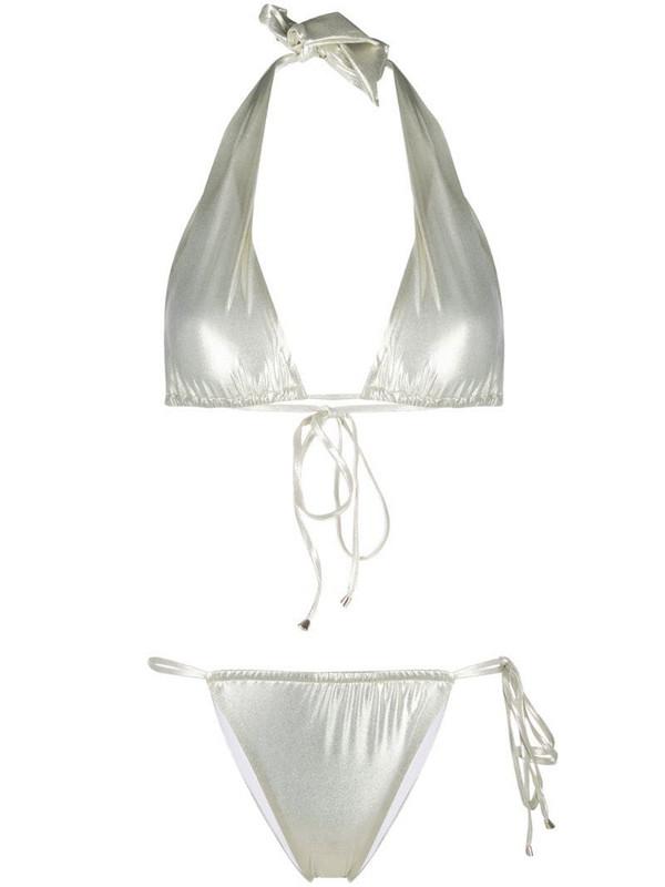 Noire Swimwear Gia metallic two-piece bikini in neutrals