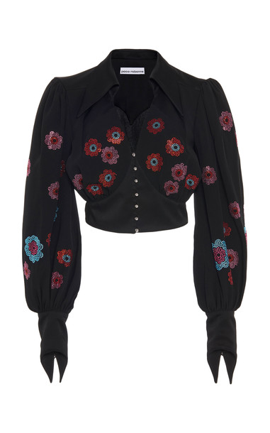 Paco Rabanne Crystal-Embellished Crepe Western-Inspired Blouse Size: 3 in black
