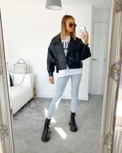 jeans,leggings,denim,white t-shirt,black leather jacket,black boots