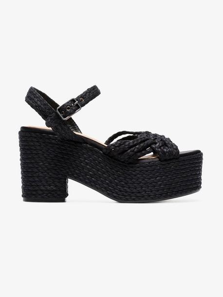 Castañer black woven raffia 100 platform sandals