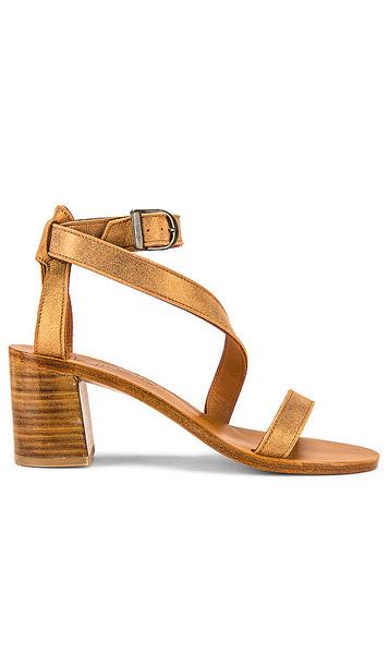 K Jacques Seraphine Heeled Sandal in Metallic Gold