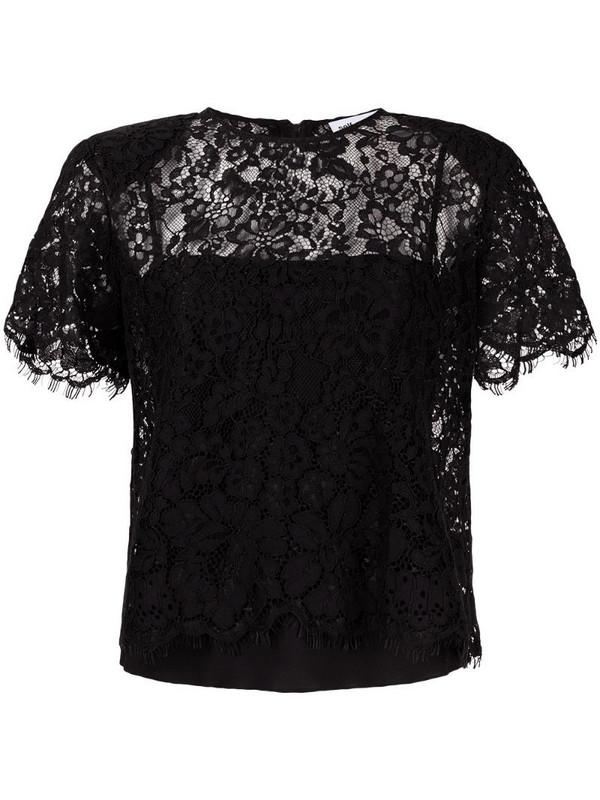 Self-Portrait lace short sleeve top in black