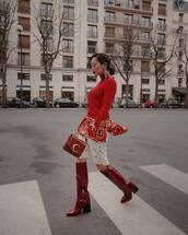 bag,chloe bag,red boots,knee high boots,white skirt,lace skirt,sweater,chloe,shirt