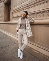 jacket,white blazer,plaid,double breasted,wool,high waisted pants,straight pants,pleated,white sneakers,turtleneck sweater