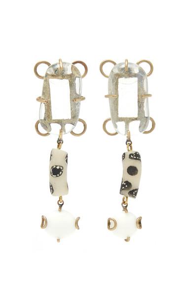 Rosie Assoulin White Glass Drop Earrings