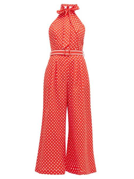 Zimmermann - Zinnia Polka Dot Print Linen Blend Jumpsuit - Womens - Red Print