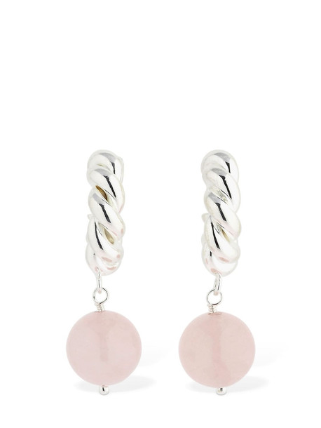 ISABEL LENNSE Xs Twisted Earrings W/rose Quartz Beads in pink / silver