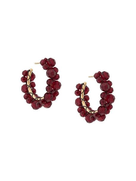 Simone Rocha crystal hoop earrings in red