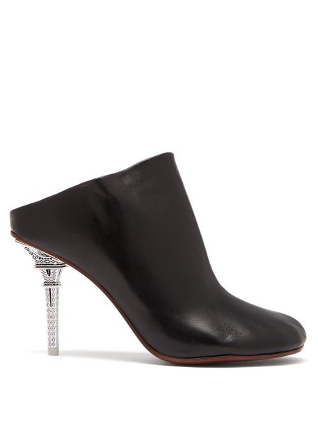 Vetements - Eiffel Tower Heel Leather Mules - Womens - Black