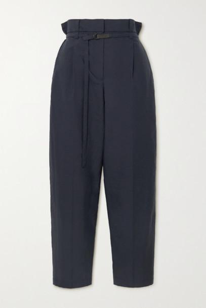 Brunello Cucinelli - Belted Cotton-blend Straight-leg Pants - Navy