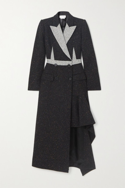 Alexander McQueen - Asymmetric Double-breasted Donegal Wool-blend Coat - Black