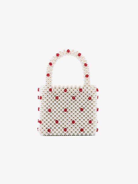 Shrimps white Dolly pearl mini tote bag