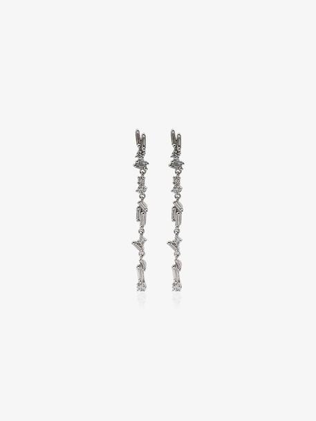 Suzanne Kalan 18K white gold diamond drop earrings