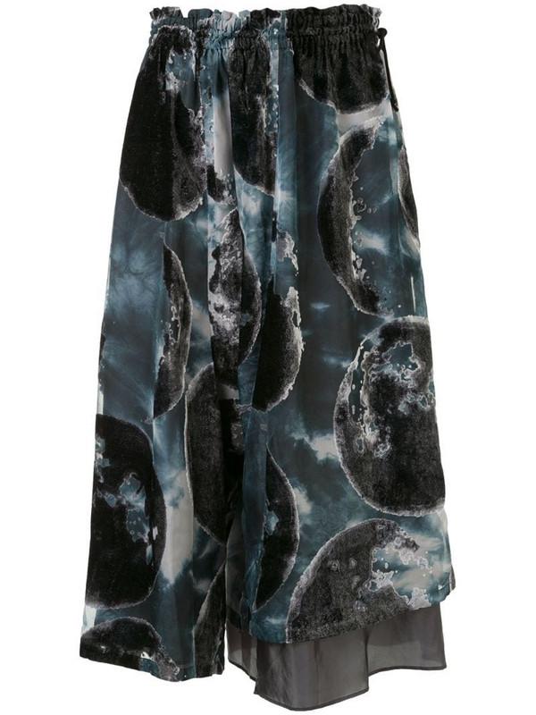 Y's moon print midi skirt in black