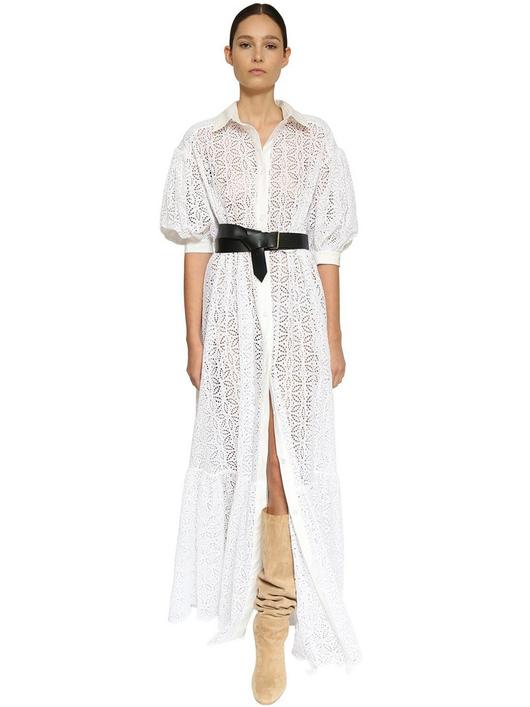 INGIE PARIS Eyelet Lace Long Shirt Dress in white