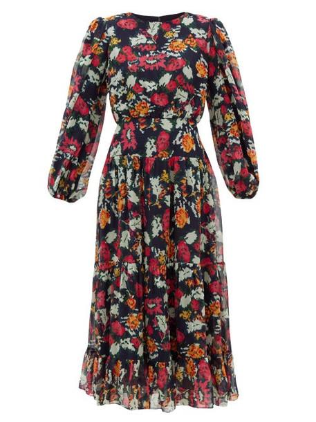 Saloni - Isabel Floral-print Silk-chiffon Midi Dress - Womens - Navy Multi