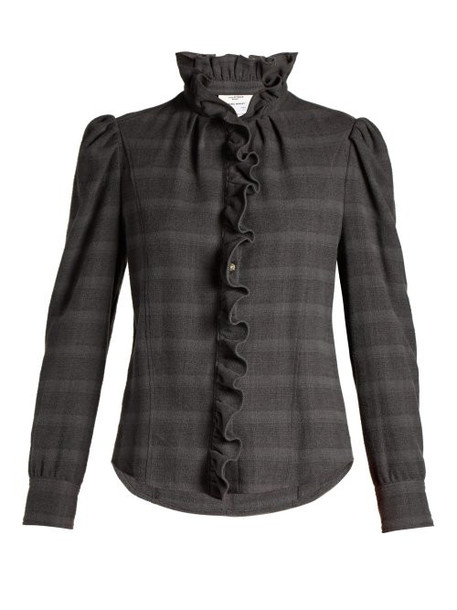 Isabel Marant Étoile - Dules Ruffled Cotton Twill Shirt - Womens - Grey
