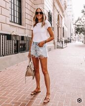 shorts,denim shorts,slide shoes,white t-shirt,bag