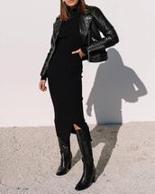 dress,black,long dress,knitted dress,elegant