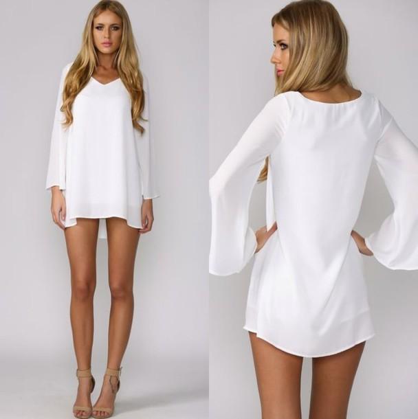 dress white dress short dress long sleeve dress cute dress