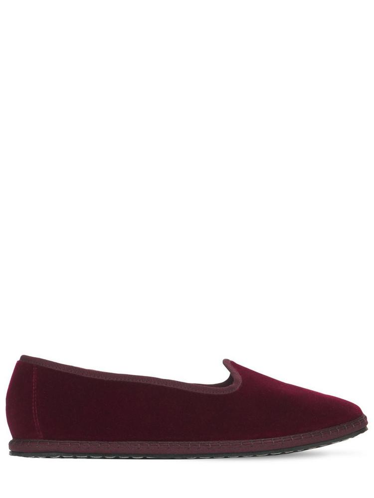 VIBI VENEZIA 10mm Bordeaux Velvet Loafers