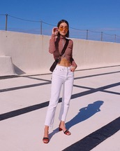 top,turtleneck,paco rabanne,white jeans,straight jeans,sandal heels,crossbody bag,black bag