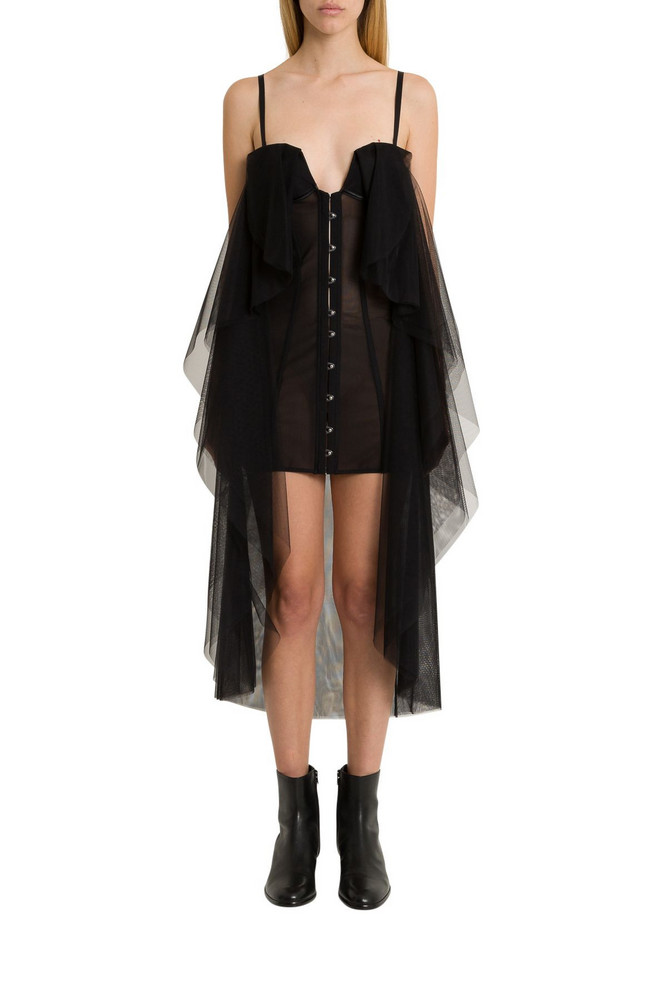 Ben Taverniti Unravel Project Bustier Dress With Mantle in nero