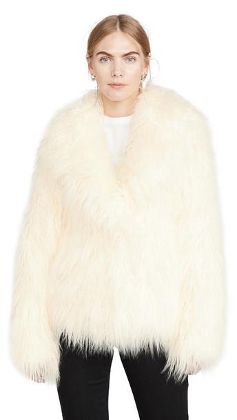 Paco Rabanne Faux Fur Coat in ivory