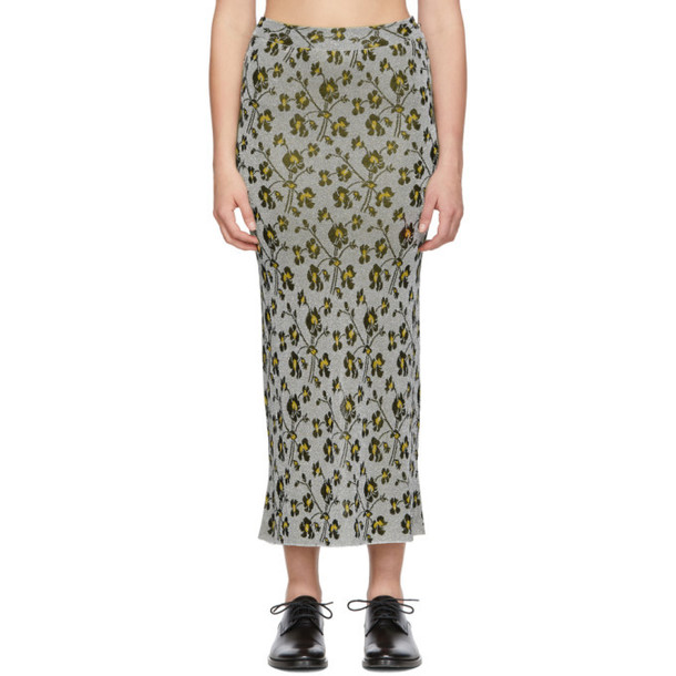 Paco Rabanne Silver Floral Long Skirt