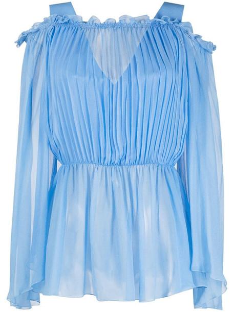Alberta Ferretti off-shoulder smocked blouse in blue