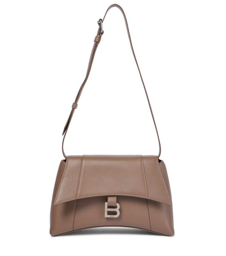 Balenciaga Hourglass Soft Small leather shoulder bag in brown