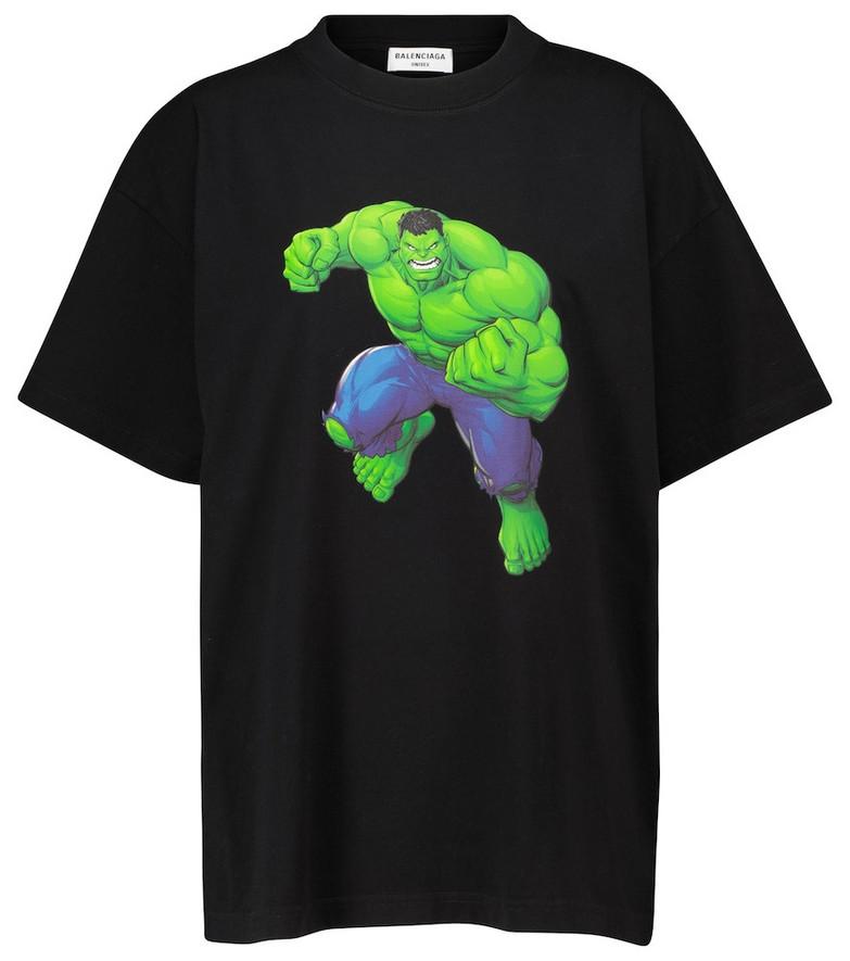 Balenciaga Printed cotton jersey T-shirt in black