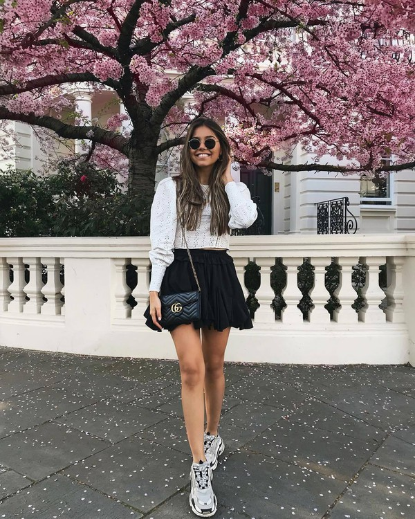 skirt mini skirt black skirt sneakers white top lace top gucci bag black bag