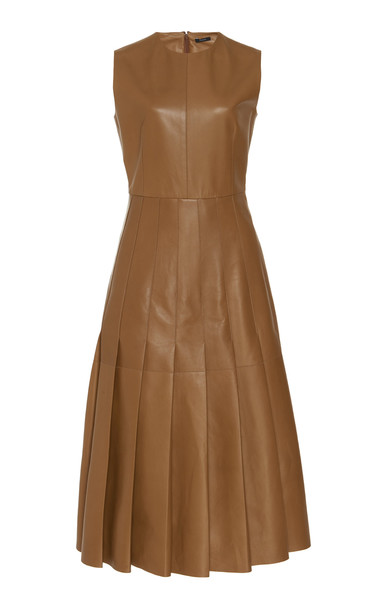 Joseph Demry Pleated Lambskin Dress in brown