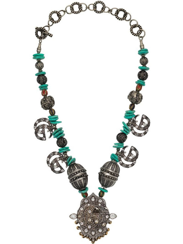 Gucci beaded GG Marmont necklace in silver