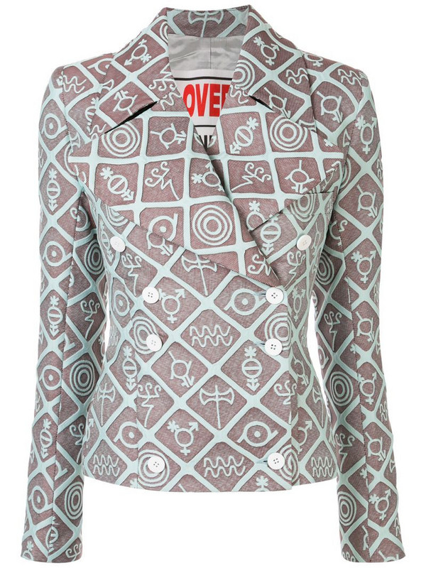 Charles Jeffrey Loverboy symbols print double breasted blazer in brown