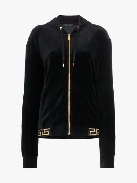 Versace Greek Key-trimmed velvet hoodie in black