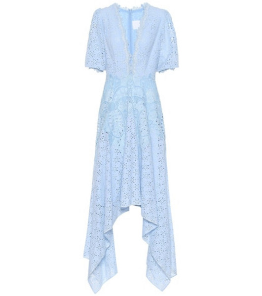 Costarellos Cotton-blend broderie anglaise dress in blue