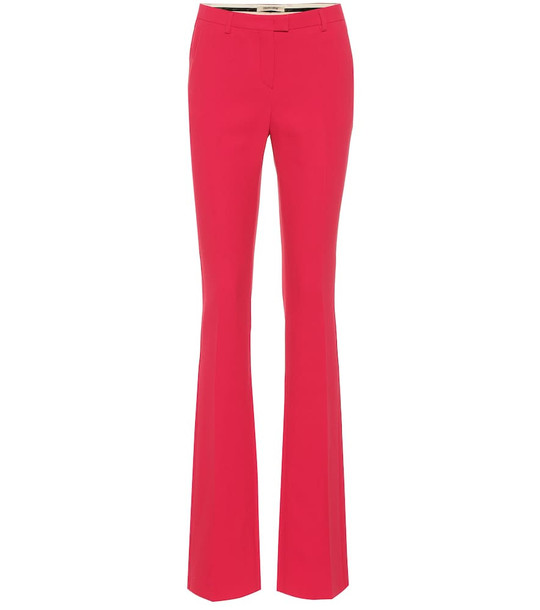 Roberto Cavalli Mid-rise crêpe straight pants in pink