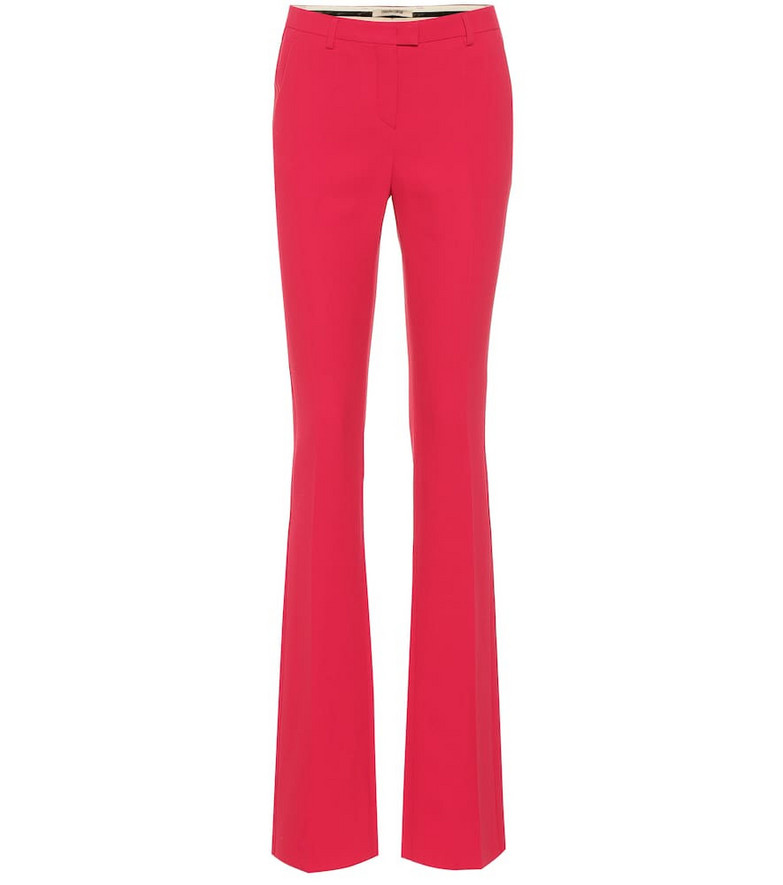 Roberto Cavalli Mid-rise crêpe straight pants in pink