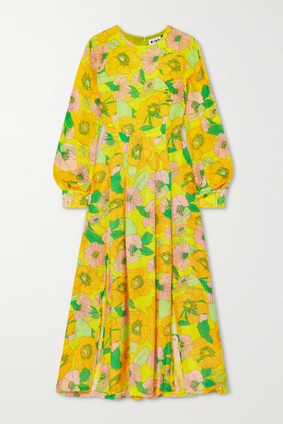 RIXO - Emma Pleated Floral-print Modal Midi Dress - Yellow